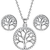 Lydreewam árbol de la Vida Juegos de Joyas Collar Pendientes Conjuntos para Mujer Plata de Ley 925 con Caja de Regalo…