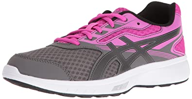 ASICS Women's Stormer Running Shoe, Carbon/Black/Pink Glow, 10 Medium US