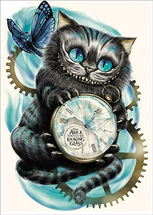 Airdea Diy 5 D Diamond Painting By Number Kit, Cat Clock Crystal Rhinestone Embroidery Cross Stitch Arts Craft Canvas Wall Decor by Airdea