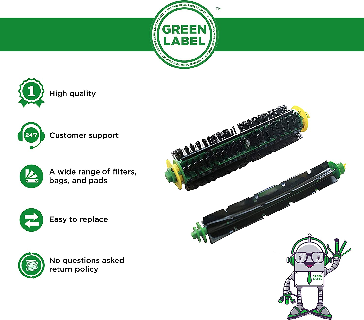 Green Label Replacement Bristle and Flexible Beater Brush Kit for iRobot Roomba 500 Series (compares to 82501, 82301)