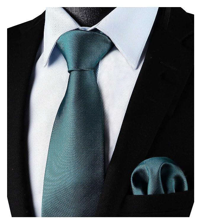 Enlision - Corbata de color liso y corbata cuadrada de bolsillo para hombres