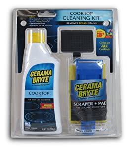 Cerama Bryte - Cooktop Cleaning Kit - Includes 10 oz. Bottle of Cerama Bryte Cooktop Cleaner, 1 Cleaning Pad & 1 Scraper