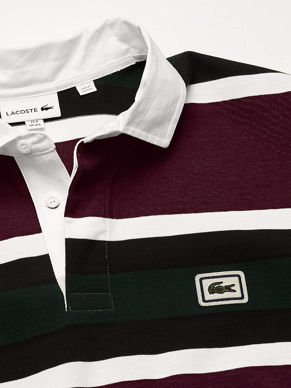 Lacoste Mens Long Sleeve Heavy Jersey Bold Stripe Rugby Polo Polo Shirt