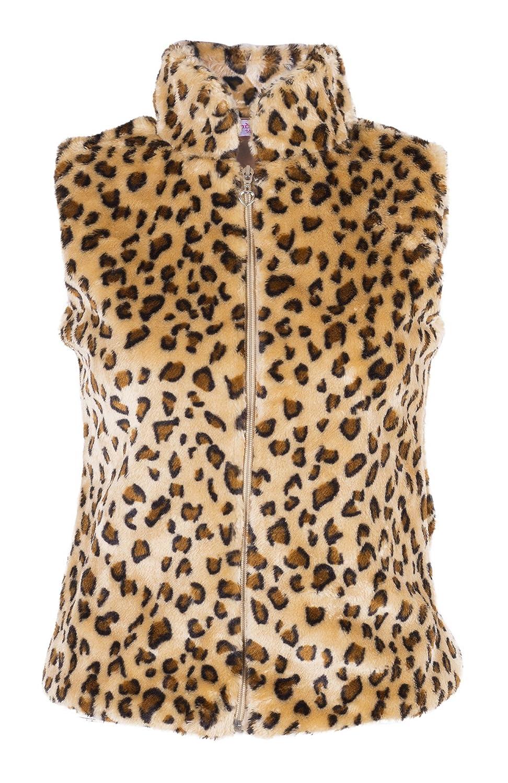 Girls Leopard Print Faux Fur Gilet Top Jacket 3-13 years
