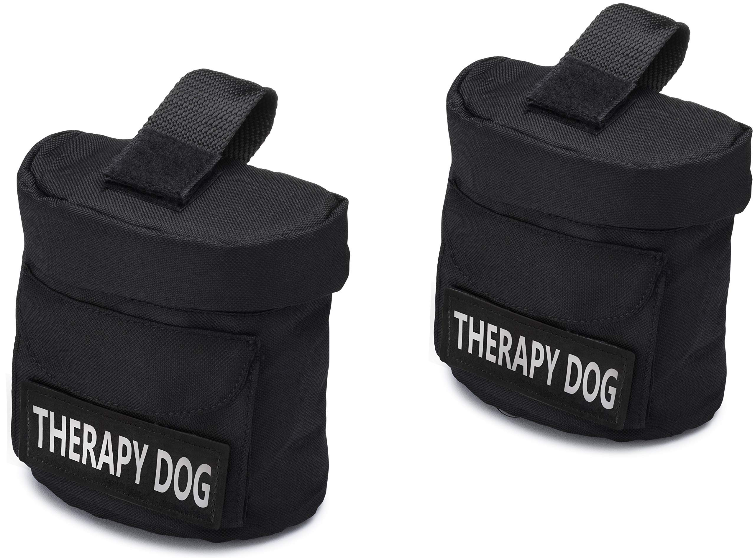 Therapy Dog Harness Vest Saddle Bags with ''THERAPY DOG'' Hook Patches - Therapy Dog Backpack Pouch for Therapy Dog and Therapy Dog in Training - Identifying Patch on Each SaddleBag (Therapy Dog) by Industrial Puppy