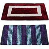 """Story@Home Eco Series 2 Pieces Cotton Blend Door Mat - 16""""x24"""", Maroon and Blue"""