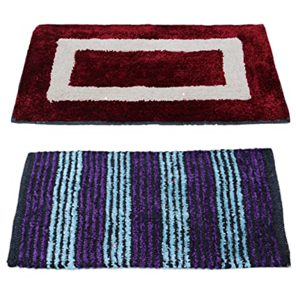 Story@Home Eco Series 2 Pieces Cotton Blend Door Mat - 16x24, Maroon and Blue