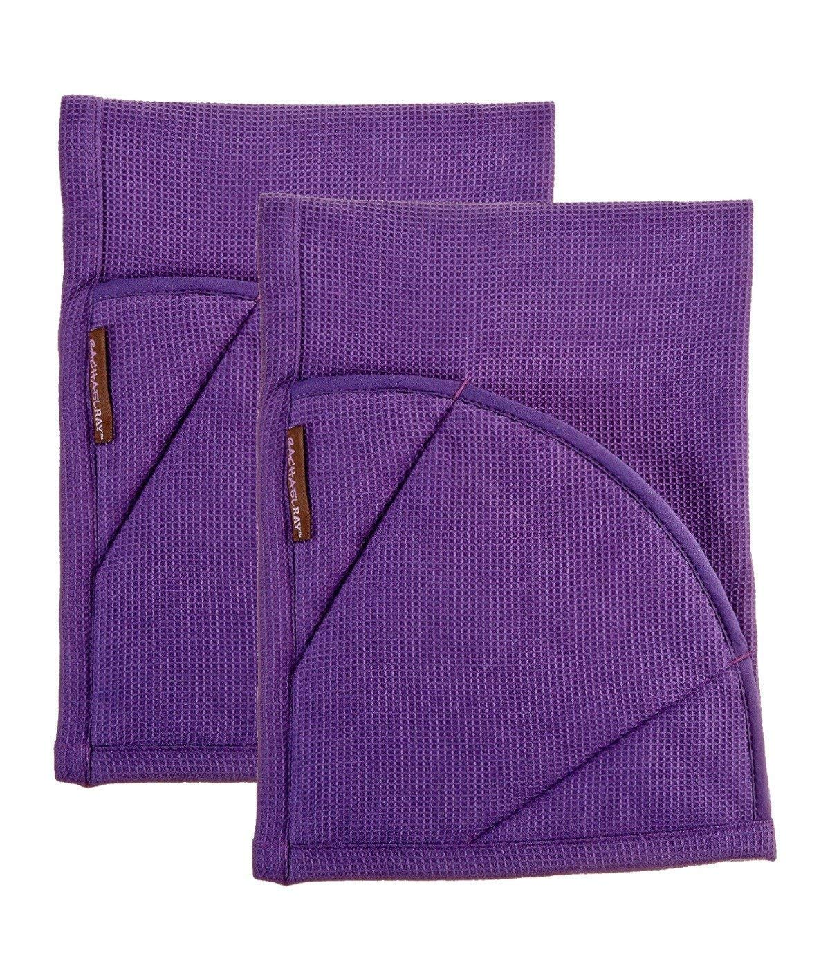 Rachael Ray Multifunctional 2-in-1 Moppine, Ultra Absorbent Kitchen Towel & Heat Resistant Pot Holder, Lavender- 2pk