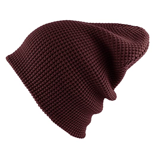 c7861096149 Morehats Waffle Embo Knit Slouchy Beanie Winter Warm Ski Skater Hip-hop Hat  - Burgundy