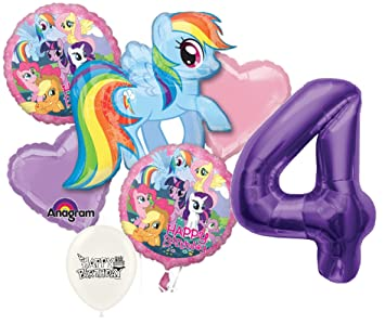 4th Birthday Purple Number My Little Pony Party Decorations Balloon Bouquet Bundle