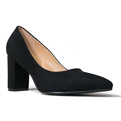 J. Adams Classic Pointed Toe Pumps - Comfortable Closed Toe Chunky Block Heels - Party, Office, Special Occasion - Jolie | Pumps