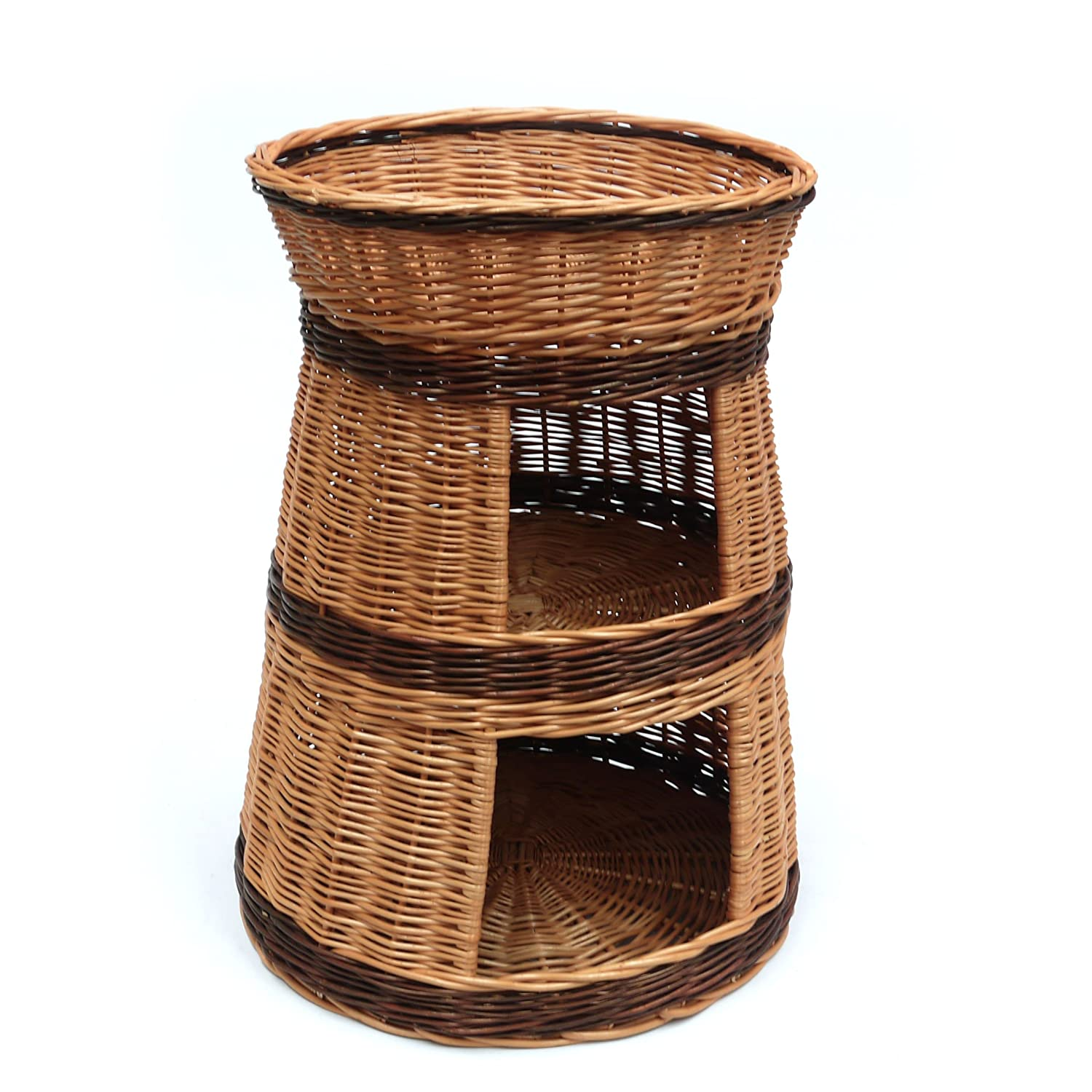Wicker cat kitten bed 3 tier house
