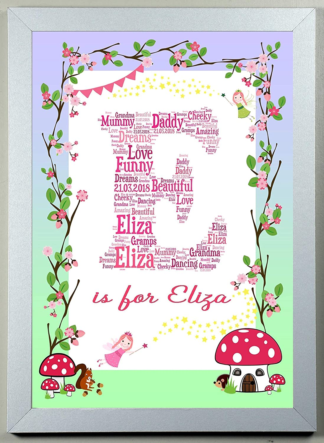 Personalised Word Art FAIRY WOODLAND Bordered Childs Name and Letter A4 or A3 Print Keepsake Gift ideal for Birthdays Christenings Nursery Decor New Borns etc YOU CHOOSE THE WORDS AND ANY LETTER