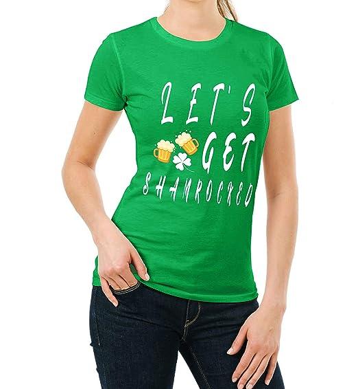 0158a10e Lets Get Shamrocked St Patricks Day Shirt - Womens Irish Leaf Clover Green  T Shirt (