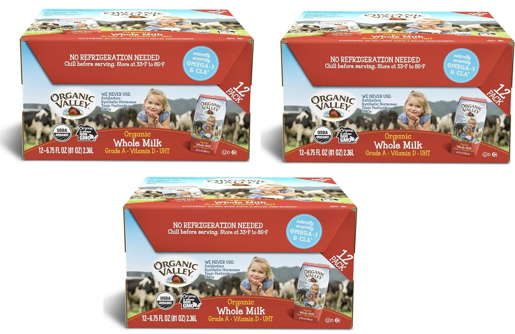 Organic Valley ICPiMT, Organic Milk Boxes, Whole Milk, 6.75 Ounces (Pack of 36)