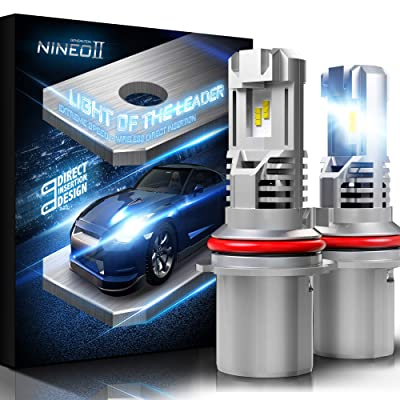 NINEO Wireless 9007 LED Headlight Bulbs w/Mini Design | 100% Direct Insertion | ZES Chips 10000LM 6500K Cool White All-in-One Conversion Kit: Automotive