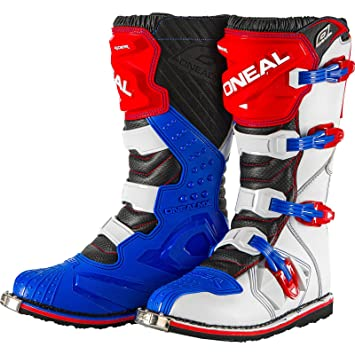 0329-709 UK 8 Oneal Rider EU Motocross Boots 42 Blue Red White