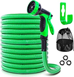 Ohuhu [2020 Patent Design] 50 FT Expandable Garden Hose Water Hose, Flexible Hose with 10-Function Spray Nozzle & Hose Holder, Storage Bag, 3-Layer Flexible Hose with PVC Protective Film