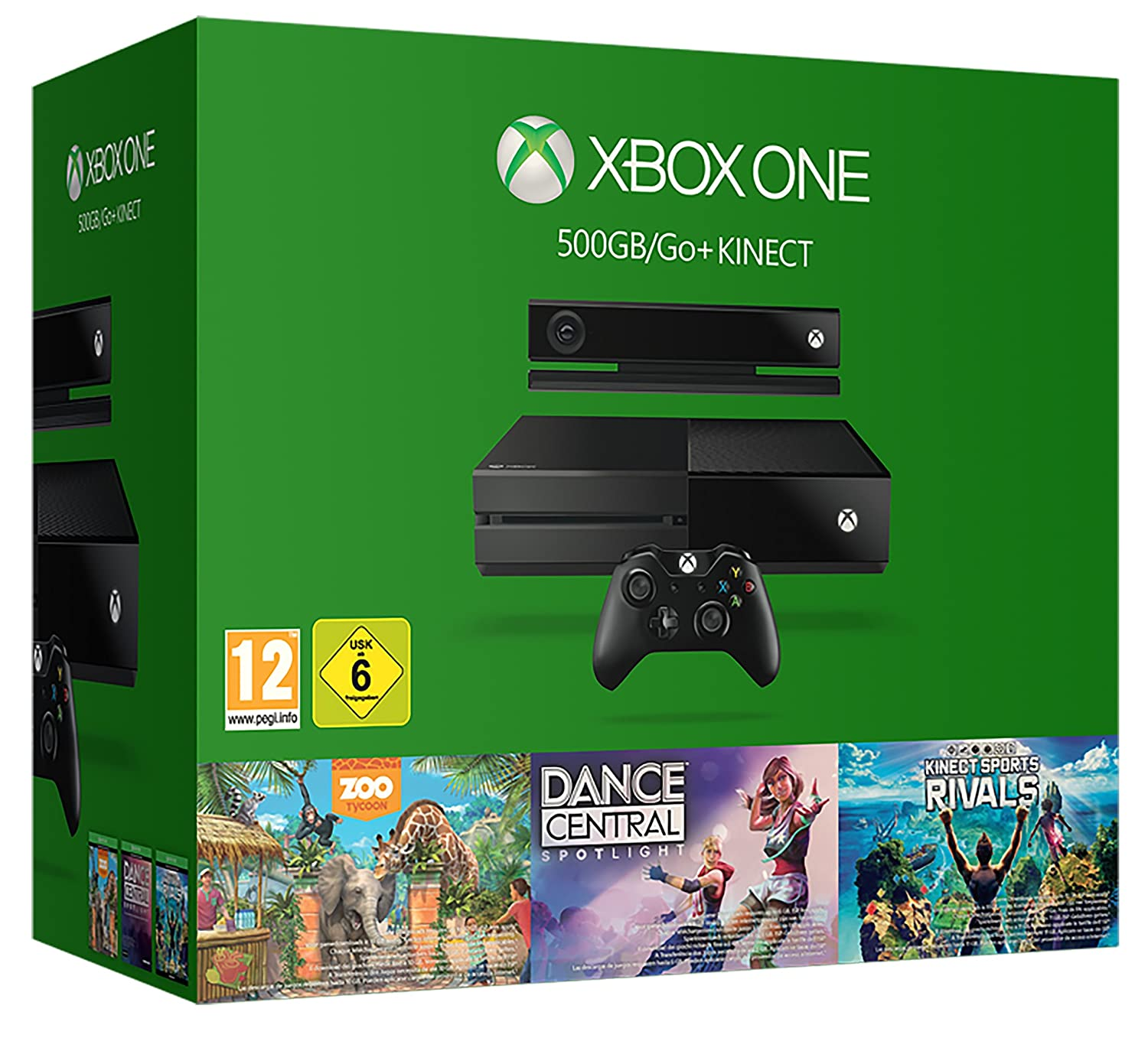 717ead2b6 Xbox One 500GB Console with Kinect - 3 Game Value Bundle (Kinect Sports  Rivals, Zoo Tycoon and Dance Central): Amazon.co.uk: PC & Video Games