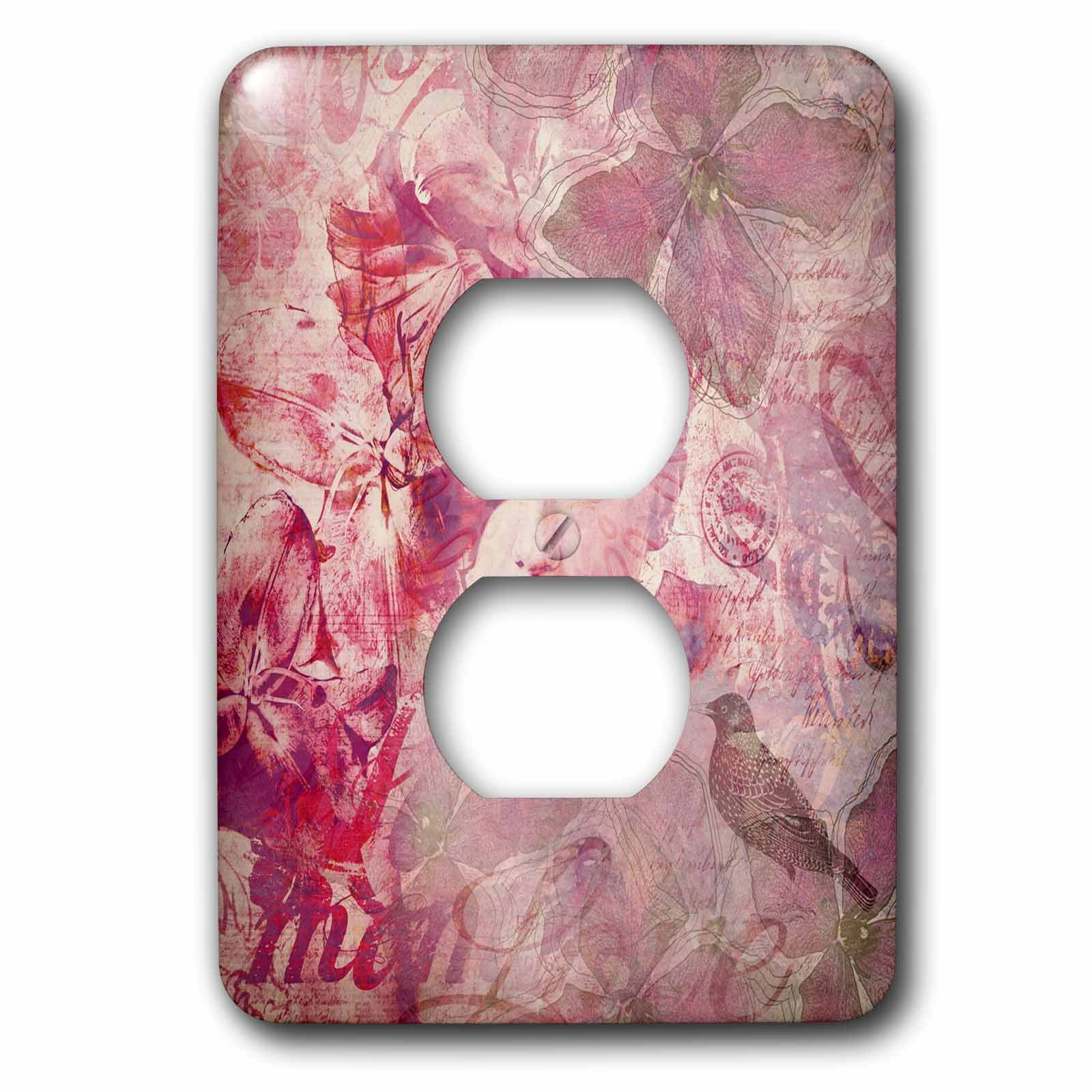 3dRose Andrea Haase Art Illustration - Women Face Vintage Illustration With Floral Elements And Typography - Light Switch Covers - 2 plug outlet cover (lsp_268116_6)