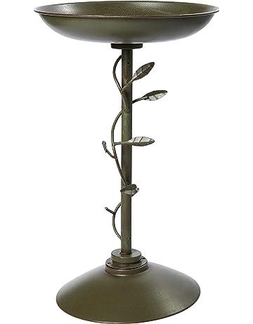 Garden Ornaments Bird Baths, Feeders & Tables Vintage Used Repainted Black Cast Iron Metal Birdbath Bowl Garden Décor Old Colours Are Striking