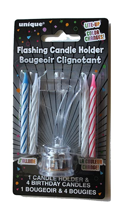 Amazon Happy 7th Birthday Flashing Number Candle Holder With 4