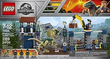 Ataque Dilofosaurio Al Jurassic Lego World Del De Vigilancia Puesto bYf7gy6