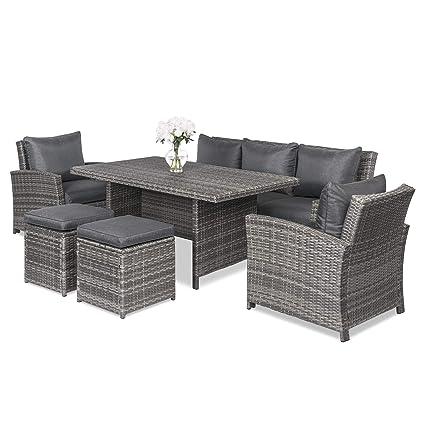 Excellent Best Choice Products 6 Piece Modular Patio Wicker Dining Sofa Set Outdoor Furniture W 7 Seats Cushions Gray Frankydiablos Diy Chair Ideas Frankydiabloscom