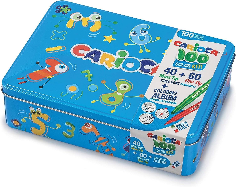 CARIOCA BOX |42736/10 - Caja de Lata Azul con 100 Rotuladores Superlavables con Punta Fina y Maxi y Álbum para Colorear: Amazon.es: Juguetes y juegos