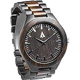 Treehut Men's Wooden Silver Stainless Steel Premium Quality Watch Quartz Analog Wrist Watch