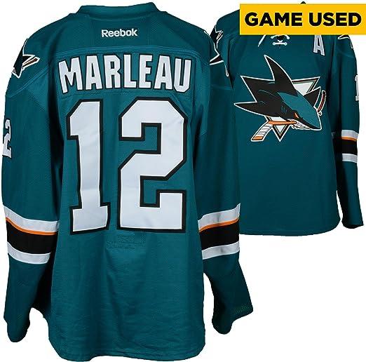 0d2515003ef21 Amazon.com: Patrick Marleau San Jose Sharks Game-Used Teal #12 ...