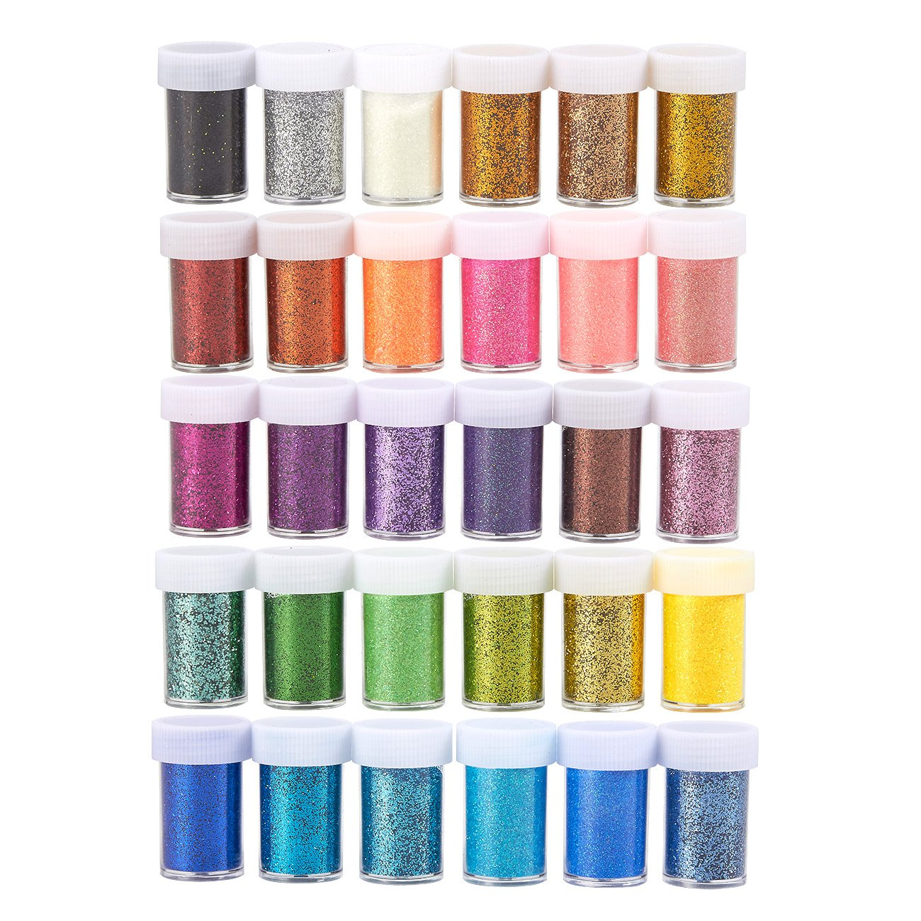 Glitter Shaker – 30-Pack Glitter Powder, Arts and Crafts Fine Glitter Dust for Kids Slime, Scrap-Booking, Body, Nails, Holiday Party Supplies, Non-Toxic, Assorted Colors, 20 ml Per Jar