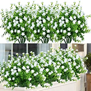 ArtBloom 24 Bundles Outdoor Artificial Flowers UV Resistant Fake Boxwood Plants, Faux Greenery for Indoor Outside Hanging Plants Garden Porch Window Box Home Wedding Farmhouse Décor (White)