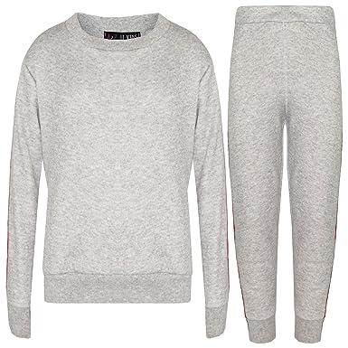 0bd20c64eb6 A2Z 4 Kids Kids Jogging Suit Girls Plain Color Stripes Sleeves Lounge Suit  - Grey -
