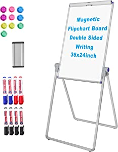 White Board Double Sided,36x24inches Dry Erase Board Flipchart Board Aluminum Alloy Easel Board Portable Whiteboard for Office,School and Home