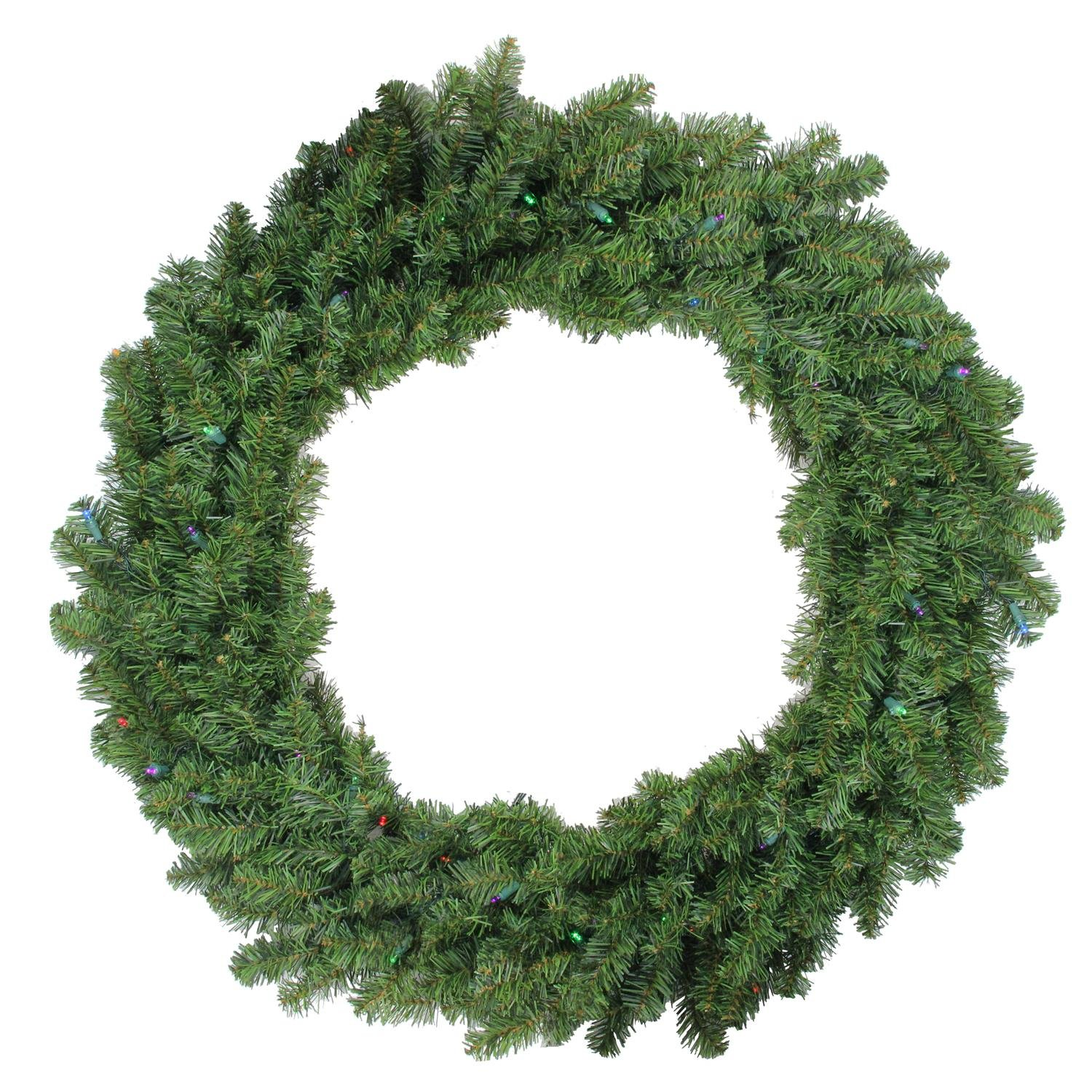 Darice 36'' Pre-Lit Battery Operated Canadian Pine Christmas Wreath - Multi LED Lights