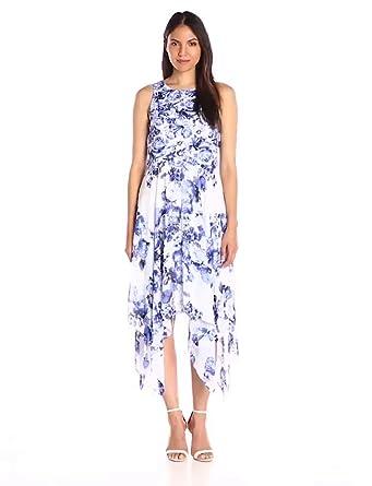robbie bee womens onepiece floral sleeveless dress blue