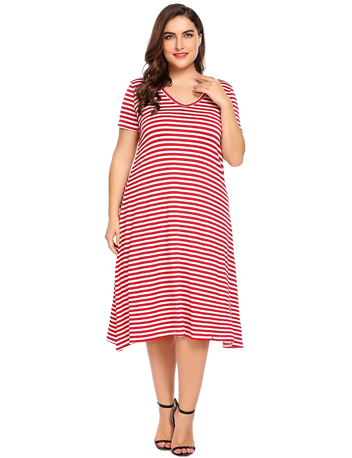 909fd893 Women Plus Sizes Casual V-Neck Short Sleeve Awing Dress Striped A-Line Midi  T-Shirt Dress at Amazon Women's Clothing store: