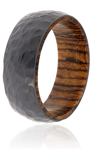USA Made Custom Jewelry And Bands Black Zirconium Ring and Titanium Bands With A Titanium Sleeve And Premium Hammered Finish 8mm Wide Ring