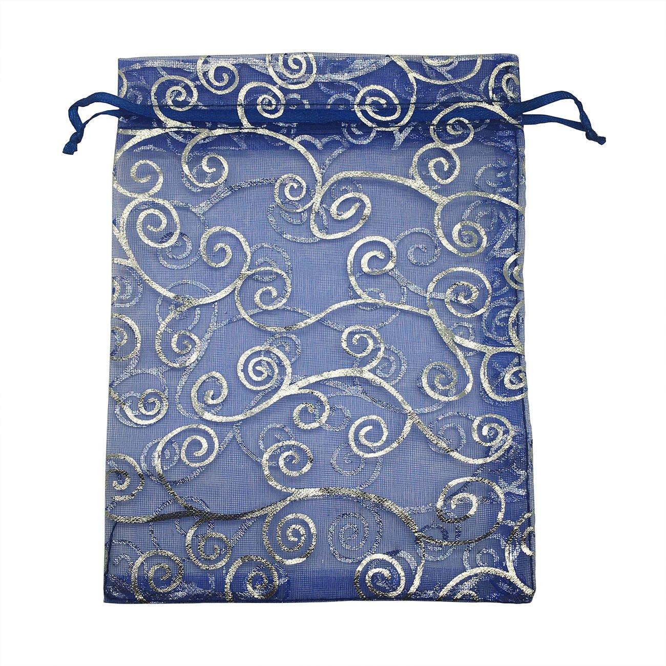 Sosam 100PCS 4x6'' (10x15cm) Drawstring Organza Jewelry Favor Pouches Wedding Party Festival Gift Bags Candy Bags (4x6'' (10x15cm), Blue Silver)