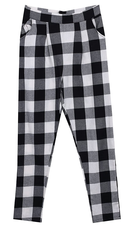 Tuesdays2 Women's Fashion Harem Skinny Long Trousers OL Casual Slim Plaid Pants