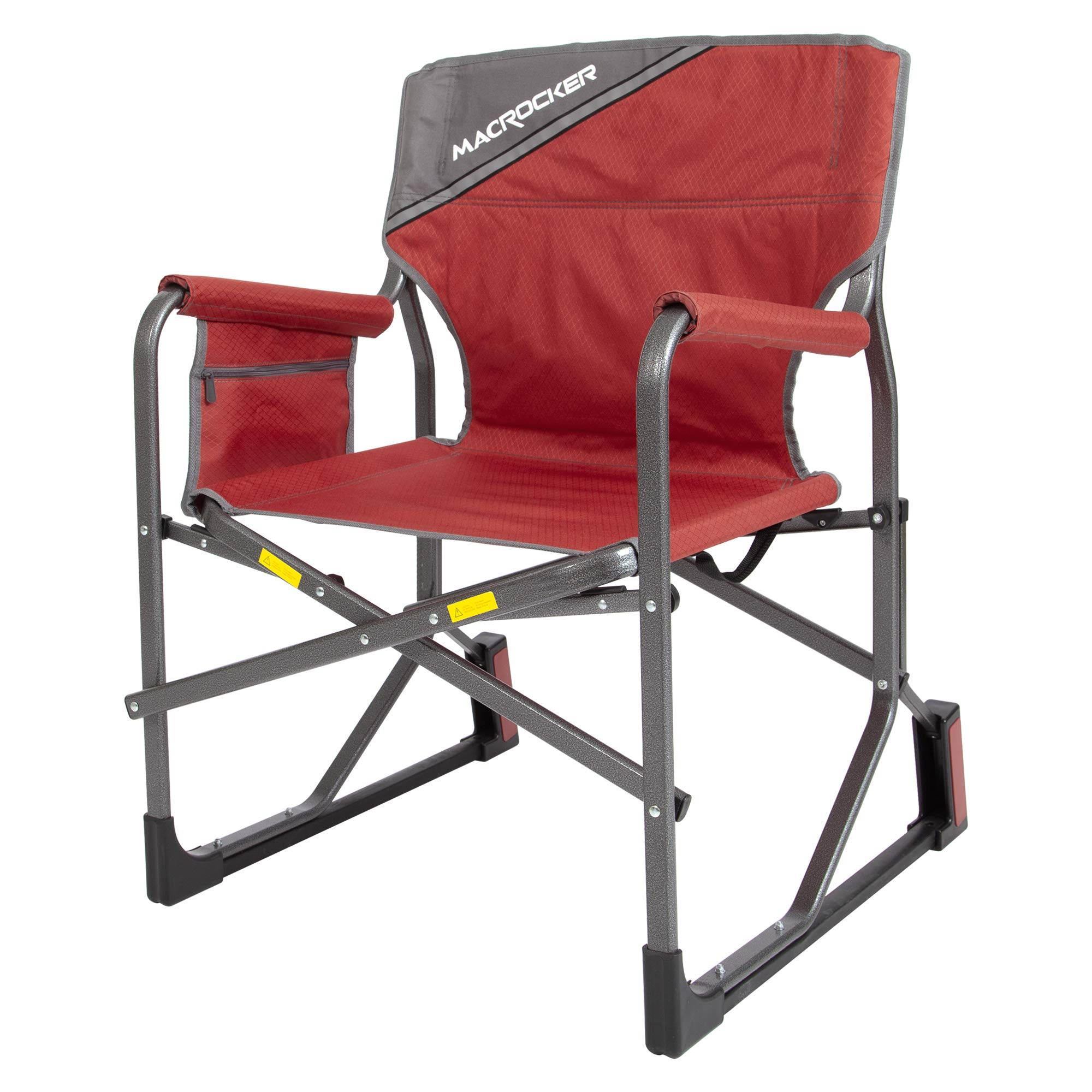 Mac Sports MacRocker Foldable Outdoor Freestyle Rocking Chair | Collapsible Folding Rocker Springless Rust-Free Anti-Tip Guard for Camping Fishing Backyard Porch | Portable Lightweight - 225 lbs | Red