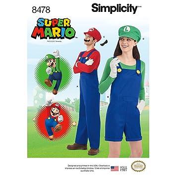 Damen Herren Teens Super Mario Kostüm | XS-XL | Simplicity ...