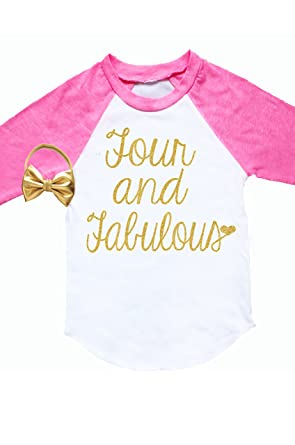 Nyla Marie Kids 4th Birthday Shirt 4 Year Old Girl Clothes Fourth Outfit
