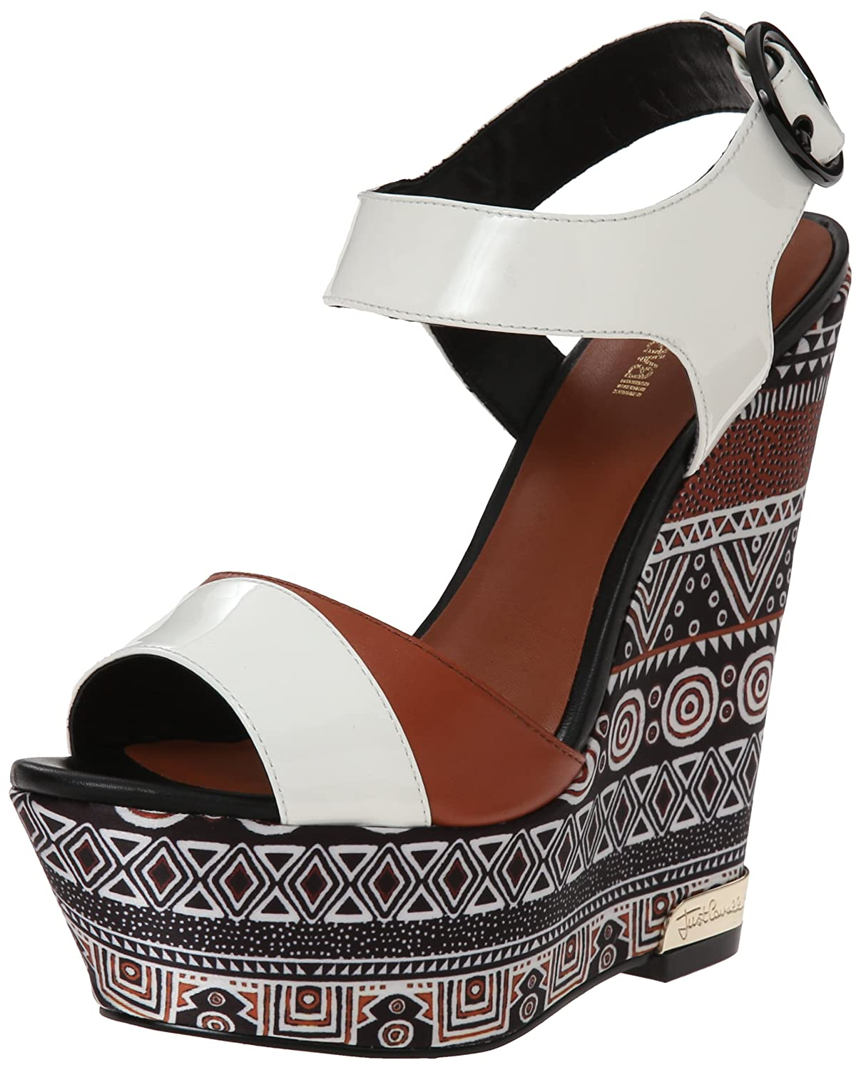 sale retailer e5e2c 5418e Just Cavalli Women's Africa Print Wedge Sandal, Brown, 41 EU ...