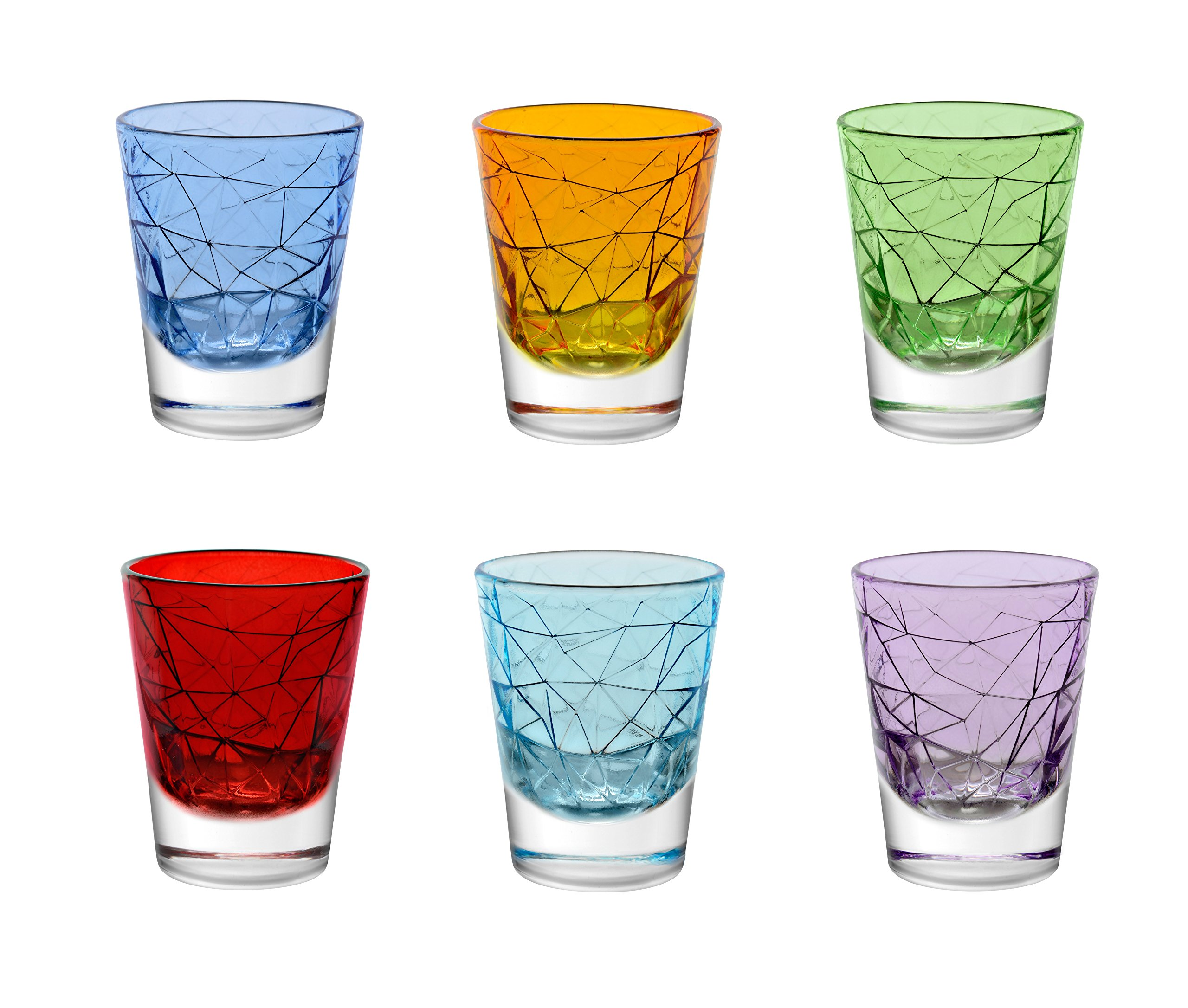 Barski - European Quality - Set of 6 - Assorted Colors - 2.7 oz. - Exclusively Designed - Shot Glasses - Made in Europe