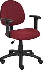 Boss Office Products Perfect Posture Delux Fabric Task Chair with Adjustable Arms in Burgundy
