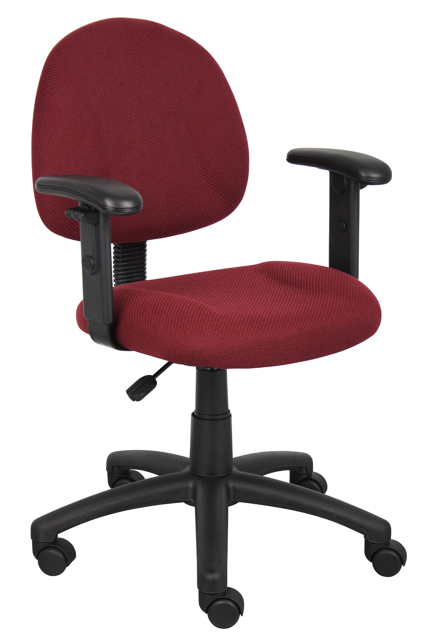 Boss Office Products B316-BY Perfect Posture Delux Fabric Task Chair with Adjustable Arms in Burgundy by Boss Office Products