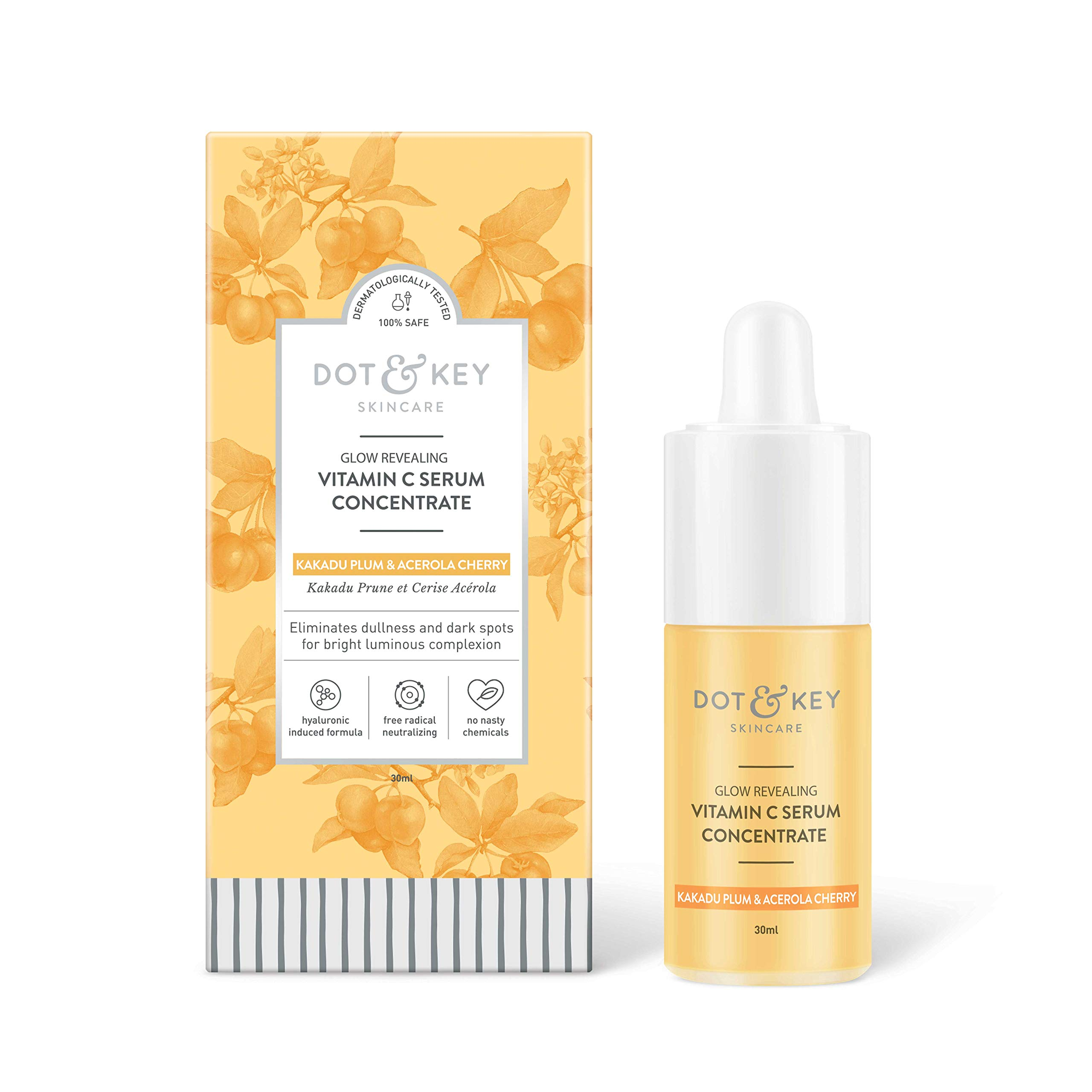 Vitamin C Serum for Face, Topical Facial Serum with Hyaluronic Acid, Vitamin E, Anti Aging Serum and Skin Brightening Serum, 1fl oz by Dot & Key