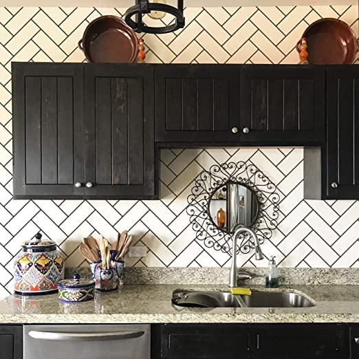 Subway Tiles Herringbone Wall Design Stencil for Painting DIY Kitchen  Backsplash - Tiled Wallpaper Pattern Stencils